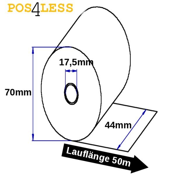 Kassenrolle 44mmx50mx17,5mm