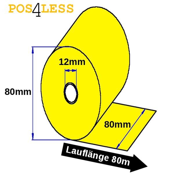 Thermorollen 80mmx80mx12mm gelb
