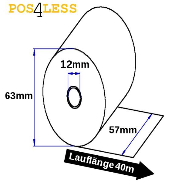 Kassenrollen 57mmx25mx12mm wei-weiß Durchschlag
