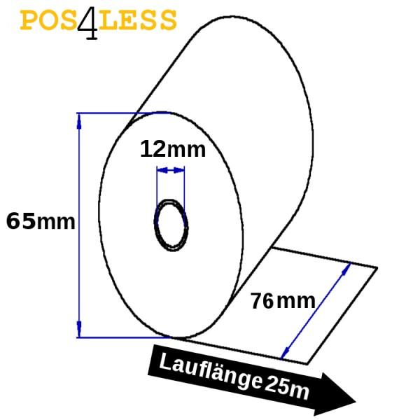 Kassenrollen 76mmx25mx12mm weiß-weiß Durchschlag