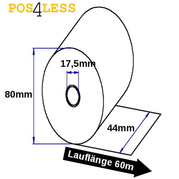 Kassenrollen 44mm x 60m x 17,5mm